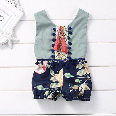 Kids Toddler Newborn Baby Boys Girl Romper Jumpsuit Bodysuit Clothes Outfit 0-4Y