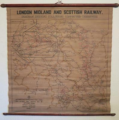 Rare 1923-47 Lms Wall Hanging Map Diagram Shewing Collieries Bemrose Derby