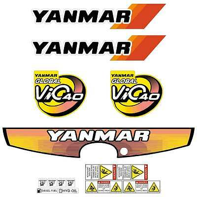 Yanmar VIO40-3 Decals Stickers Kit Set Mini Excavator