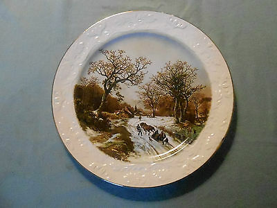 VINTAGE DECORATIVE 10 ins. PLATE. BY  `WOOD AND SONS.`  `LANDSCAPE IN WINTER`