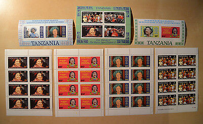 Tanzania - 7 MNH sheets - Queen Mother Elisabeth II - Her Majesty