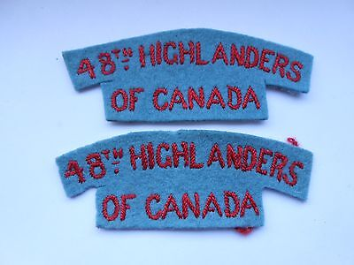 2ww   pair of    48th highlanders of canada cloth shoulder titles