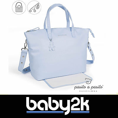 Pasito a Pasito Catania Baby Changing Bag in Baby Blue Machine Washable BNWT