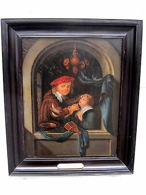 Attributed Gerrit Dou 1613-1675 DENTIST ANTIQUE OLD MASTER OIL PAINTING  ON OAK