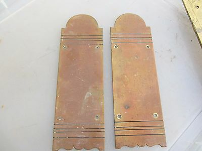 Victorian Brass Finger Plates Push Door Handles Architectural Antique Vintage