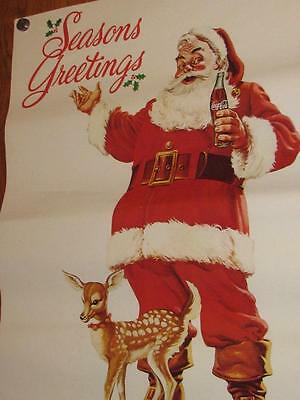 Vintage Santa Claus Christmas Poster Coca Cola Ad & Deer 23x31 to Frame