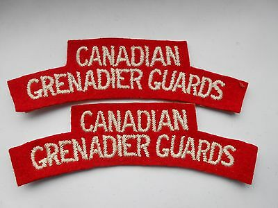 2ww   pair of  canadian grenadier guards   cloth shoulder titles