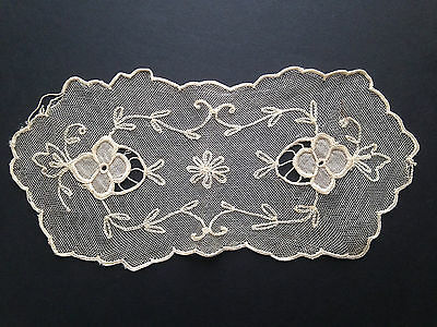 """Antique Tambour Net Lace Embroidered Doilie 10-1/2"""" x 5"""""""