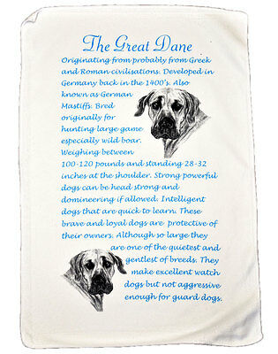 Great Dane Dog Origins & Breed Facts Gift Packed Microfibre Tea Towel