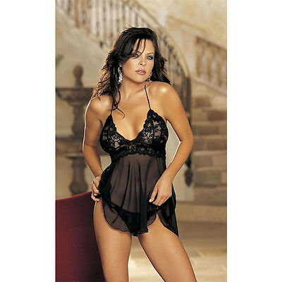 Size XXL Babydoll G-string Briefs Nighties Lace Dress Babydoll Underwear Chemise