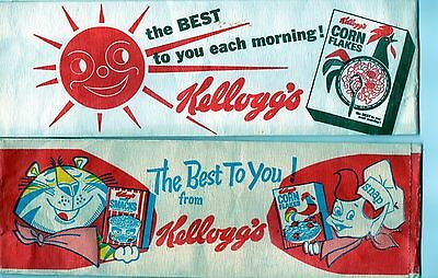 Vintage Pair of Kellogg's Linen Paper HATS w/Nice Graphics Old Cereal Characters