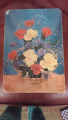 Vintage Original 1940s 1950's Chocolate Box with rose picture