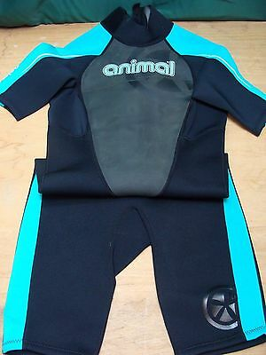 New Animal Ladies AMP 3 2 Shortie Wetsuit - Black & Teal - Size L (16)