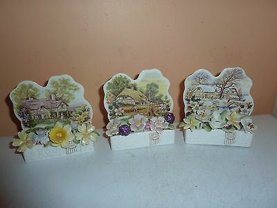 Royal Albert Cottage Garden Year Series Spring,autumn,winter Posy Flower Plaques