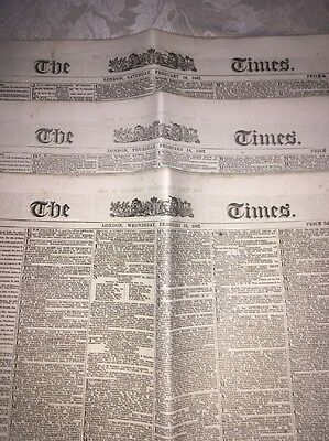 3 Issues Of The Times Newspaper From February 1867