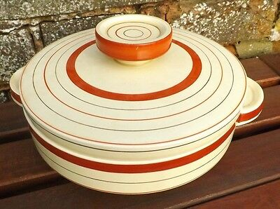 Clarice Cliff Vintage Art Deco Red Banded Large Tureen. Circa 1934