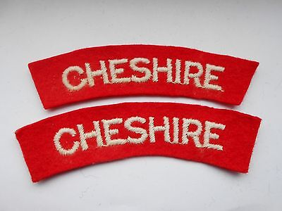 2ww   pair of  CHESHIRE regiment   cloth shoulder titles  [ A]