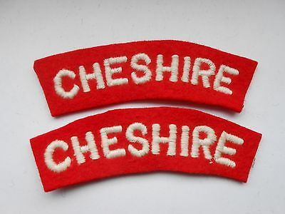 2ww   pair of  CHESHIRE regiment   cloth shoulder titles  [variation B]