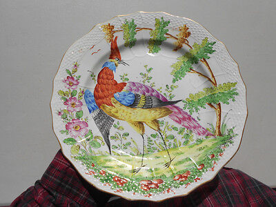 "Old Antique Hand Painted Chelsea Bird Plate 10"" Gold BB Crown Mark"