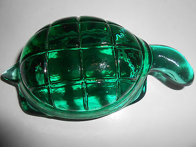 Teal Green art glass Turtle figurine sea paperweight ocean blue candy container
