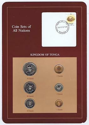 Kingdom of Tonga 6pc Mint set 1881-90 BU Coin Sets of All Nations, stamp