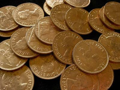 Great Britain 1 Penny 1961 lot of 25 RED BU