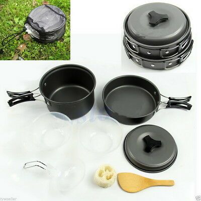 8pcs Portable Outdoor Hiking Camping Cookware Cooking Set Picnic Bowl Pot Pan MP