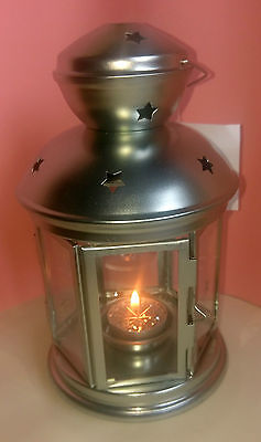 Ikea Rotera Silver Lantern Tealight Holder With Sparkly Scented Tealight
