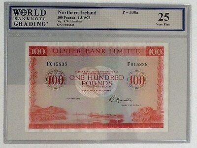 Northern Ireland 1973 100 Pounds P-330-A graded  VF 25