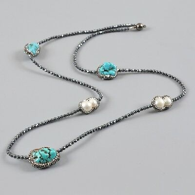 """30"""" Howlite Turquoise Pearl Paved CZ Black Stone Necklace & Magnet Clasp B029313"""