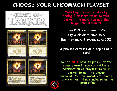 MTG Khans of Tarkir Choose your uncommon playset (x 4 cards) Letters A-M M/N