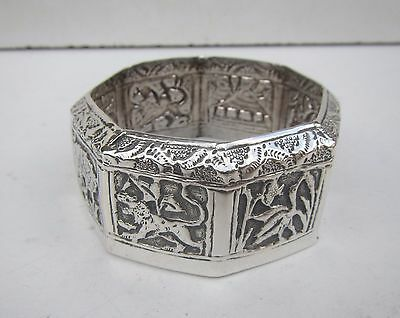 Old Solid Silver Decorative Elephant Scene Indian Top from a Jar or Pot