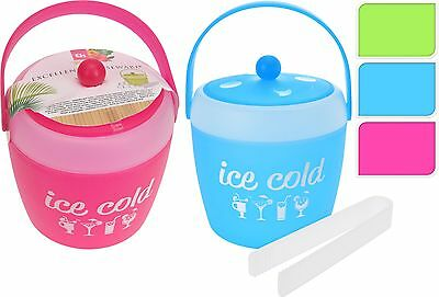 2 Litre Double Walled Plastic Insulated Ice Bucket Cooler with Lid and Tongs