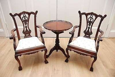 Antique Dolls House Quality Tilt top Table and Pair Chippendale Armchairs