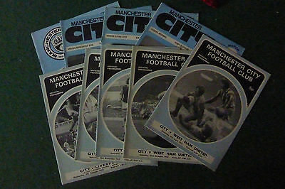 Nine Manchester City Programmes from early 1970s