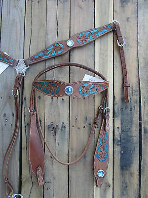 Western Headstall Breast Collar Turquoise Blue Barrel Leather Horse New Tack Set