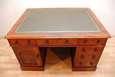 Antique Victorian Partners Writing Desk Green Leather top