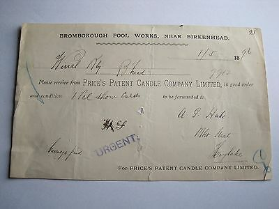 Wirral Railway order form 1896 Bromborough Works Prices Candle Co.