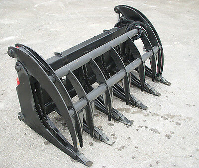 """Bobcat Skid Steer 66"""" Root Rake Grapple Bucket Attachment with Teeth - Free Ship"""