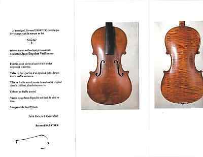 FRENCH  STENTOR violin from the JEAN BAPTISTE VUILLAUME shop/Sabatier cert