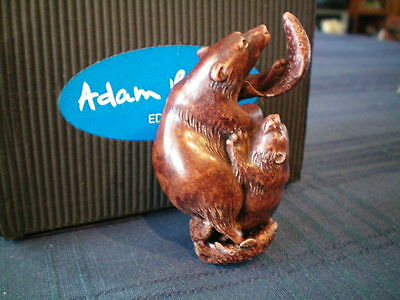 Adam Binder Editions Wooden Gone Fishing Bear & Cub Netsuke UK Made LE 100