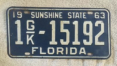 Nice Good Solid 1963 Florida  License Plate  Free Shipping See My Store