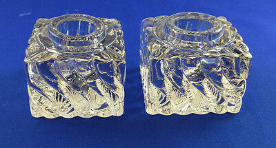 Pair of Vintage Solid Square Thick Glass Inkwell Ink Bottles