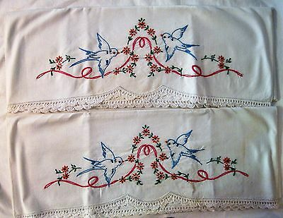 Vintage Pair Of Linen Pillowcase Crocheted & Embroidered Blue Birds & Flowers