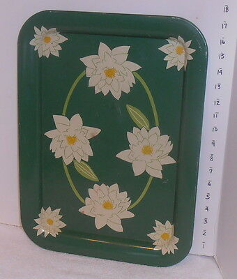 *4* Vintage Metal Lap Serving TV Tray Table Green White Flowers yellow center