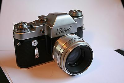 Zenit 3M Vintage Camera with 50mm lens with leather case