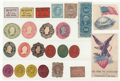 USA 1860s  CARRIER / CITY POST  etc.  MAINLY CUT TO SHAPE.  INTERESTING LOT