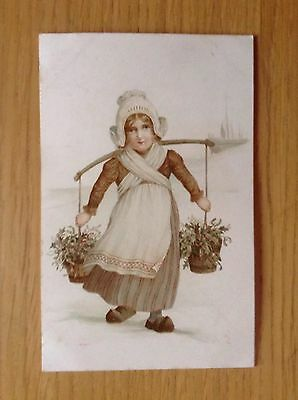Colour Postcard of A Dutch Girl In Clogs. By E Nister Dated 1907. Good Condition
