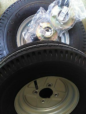 """Pair of Trailer Wheels 500 x 10"""" 4"""" pcd with Trailer hubs and bearing Kit"""