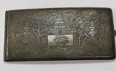 Rare Tienstin Yeching Sterling Silver Chinese Cigarette Case c.Early 1900s 8.3oz